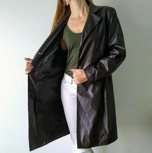 Cato dark brown faux leather trench coat